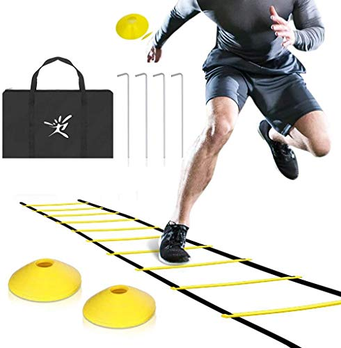 Agility Speed ​​Ladder Rung 6M-12 met 8 en 4 Stakes Kegels for Kids volwassenen Soccer Speed ​​& Agility trainning Inclusief Handbag