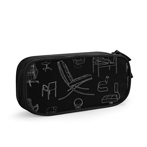 Multi Pen Bag Pencil Case Cosmetic Pouch Makeup Bag Zipper Stationery Bag Storage Box for School Supplies & Office Women Girl,Mid Century Chairs Designer Furniture