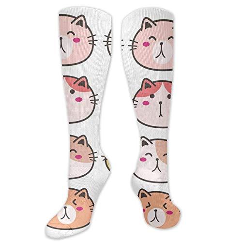 NA Calze al ginocchio carine con personaggi di gatto a compressione, calze sportive sportive a tubo, calze lunghe divertenti, regalo personalizzato per uomini e donne