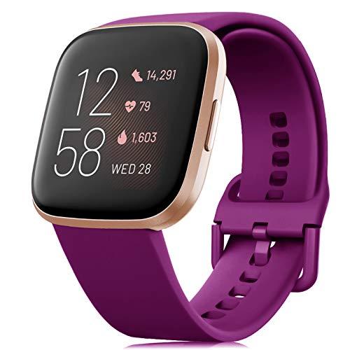 RIOROO Correa Compatible para Fitbit Versa Pulsera/Versa 2 Correa/Versa Lite Correas/Blaze Pulseras,Silicona Banda de Relojes para Hombres Mujeres, Deportivo Recambio de Pulsera(Sin Reloj)