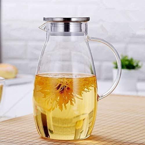 Bouilloire induction Théière en verre transparent Thées à thé en verre résistant à la chaleur Set Juice d'été Pot d'eau froide pour le bureau de la maison en plein air WHLONG (Size : 2000ml)