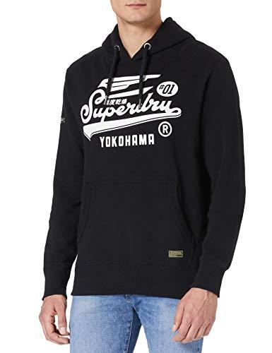 Superdry Mens Military Graphic UB Hood Hooded Sweatshirt, Black, XL