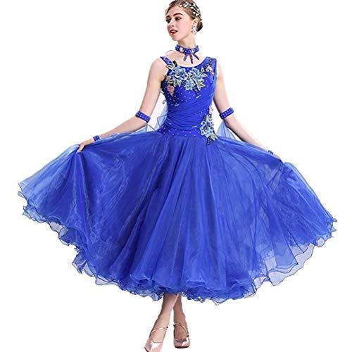 Vestiti da Ballo Moderno Big Swing Valzer Gonna Performance Costume da Ballo Standard Nazionale per Le Donne Abbigliamento da Ballo (Colore : Blu, Size : S)