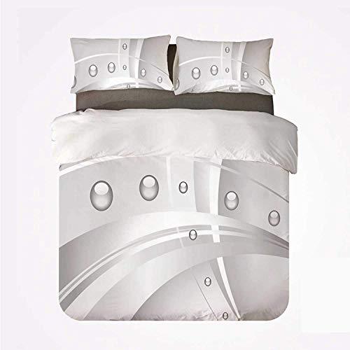Rorun Sängkläder påslakanset - silver abstrakt sammansättning med linjer kurvor och levande bubbelliknande bollar tryck dekorativ - borstad mikrofiber påslakan med kuddfodral-kung (230 x 220 cm)