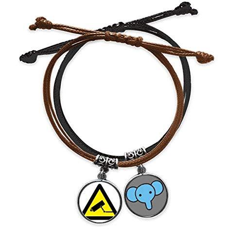 Pulsera de piel con símbolo de advertencia para monitor de cámara, triángulo, correa de mano, diseño de elefante