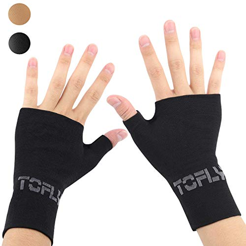 TOFLY Wrist & Thumb Support Sleeve, 1 Pair Compression Arthritis Gloves for Unisex, Ideal for Carpal Tunnel, Wrist Pain & Fatigue, Sprains, RSI, Tendonitis, Hand Instability, Sports, Typing, Black XL