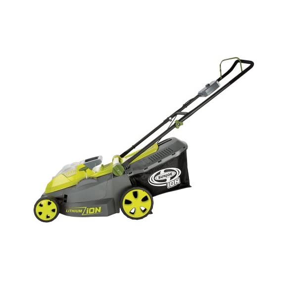 Sun Joe iON16LM 40-Volt 16-Inch Brushless Cordless Lawn Mower, Kit (w/4.0-Ah Battery + Quick Charger), ION16LM 1 For use with iBAT40 Series 40 V lithium-ion batteries and iCHRG40 and iCHRG40QC chargers - sold separately No pull cords, gas, oil, tune-ups, carbon emissions or tangled extension cords Powerful brushless motor increases battery efficiency, maximizes motor performance, decreases noise and vibration and extends motor life