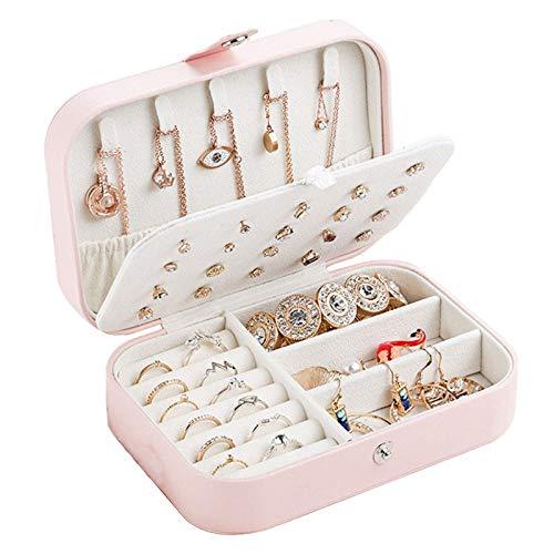 Essort Joyero Organizador Viaje, Joyero Jewelry Mujer Portátil Cajas para Joyas Niña, Cofres para Joyas Pequeño para Anillos, Aretes, Pendientes, Pulseras y Collares, 16.5 x 11.5 x 5.5 cm, Rose