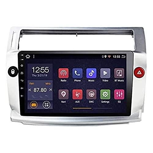 Navegación GPS para Citroen C4 C-Triomphe C-Quatre 2004-2009 Unidad principal Mapas Transmisión de voz Radio para automóvil Reproductor de música estéreo Android 9.0 con Bluetooth Wifi Mirrorlink SWC