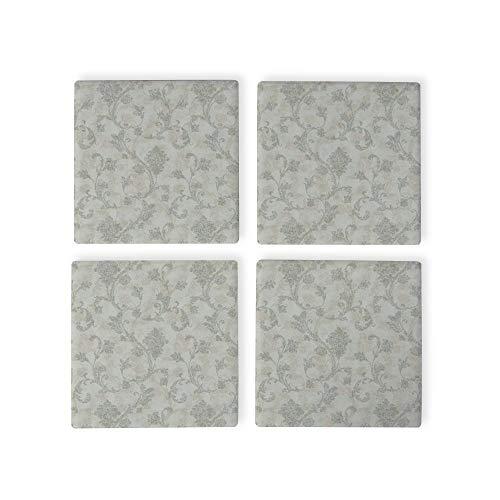 Jacobean Scroll - Juego de 4 posavasos de tela gris, posavasos para bebidas, tamaño estándar, posavasos cuadrados de goma, inauguración de la casa, cumpleaños, decoración del hogar