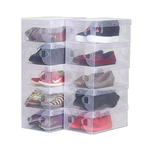 Caja de almacenamiento de zapatos transparente – Armario plegable de gran tamaño, fácil de montar, caja de almacenamiento apilable para zapatos, con tapa, para mujeres/hombres (10 unidades)