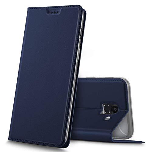 Verco Handyhülle für Galaxy J6, Premium Handy Flip Cover für Samsung Galaxy J6 2018 Hülle [integr. Magnet] Book Hülle PU Leder Tasche, Blau