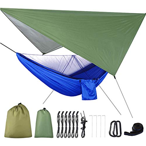 Shaoyanger Camping Hammock with Mosquito Net and Tarp Rain Cover and Tree Straps 200kg Load Capacity 290 X 140 Cm Nylon Double Hammock Lightweight for Travel Outdoor Hiking Backpacking Picnic Garden