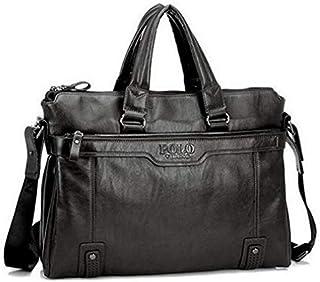 Stylish Style Unique Leather Handbag Shoulder Bag Business Bag Laptop Bag for Men TY04 Black