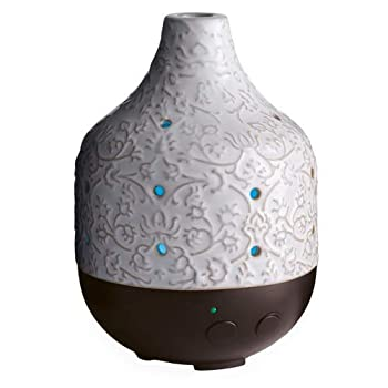Airomé Botanical Large Ceramic Essential Oil Diffuser|250 mL Humidifying Ultrasonic Aromatherapy Diffuser 8 Colorful LED Lights Up to 24 Hours Intermittent & Continual Mist with Auto Shut-Off White
