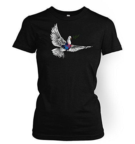 Banksy Armoured Peace Dove Damen-T-Shirt Gr. X-Large, Schwarz