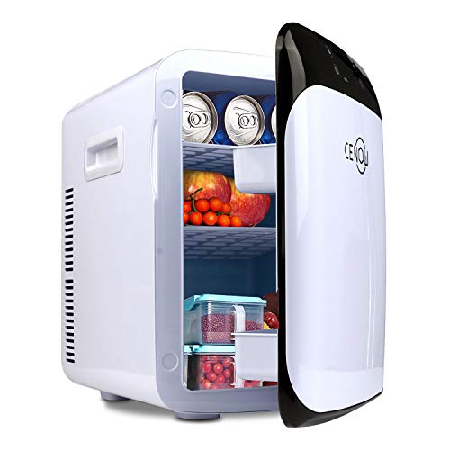 Mini Fridge for bedroom, 15 Liter Portable Skincare Fridge, Rapid Cooling Small Fridge for Skin Care, Breast Milk, Food and Drinks, Cooler Warmer with AC/DC for Home and Car (white black, 15L)