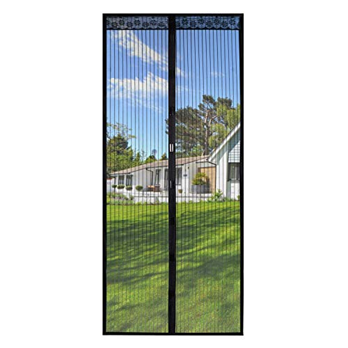 Magnetic Screen Door 39x82 Inches,Screen Doors with Magnets Heavy Duty Mesh Curtain Full Frame Hook&Loop,for Front Door Apartments and More,Hands Free,Anti Mosquito Bugs,Pet and Kid Entry Friendly