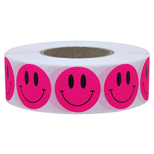 Hybsk 1 Inch Fluorescent Pink Smiley Face Stickers Happy Face Stickers Adhesive Labels Total 1,000 Per Roll (Fluorescent Pink)
