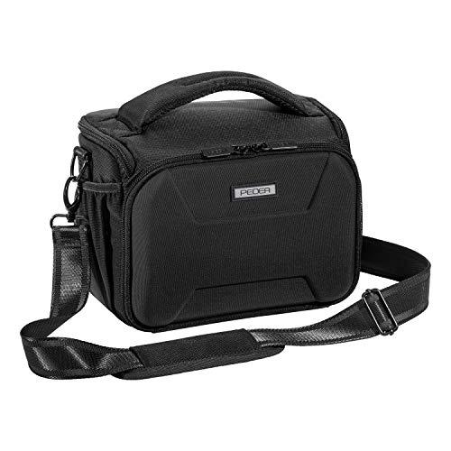 """PEDEA DSLR borsa per fotocamera """"Guard"""" Borsa per fotocamera per macchine fotografiche reflex con protezione antipioggia impermeabile, tracolla e scomparti per accessori, misura XL nero"""