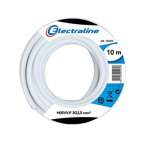 Electraline 11841, Cable para Extension H05VV-F, Sección 3G2.5 mm, 10 m, Blanco