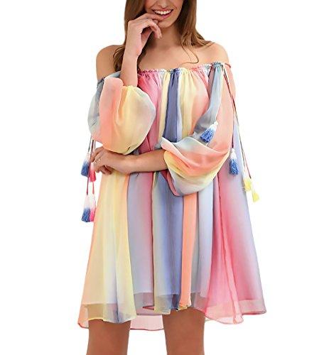 Vestidos Mujer Verano Vestido Playa Cortos Gasa Chiffon Tul Arcoiris Colores 3/4 Manga Cuello Barco Hombro Descubierto Anchos Hippie Moda Casual Vestidos Camiseros