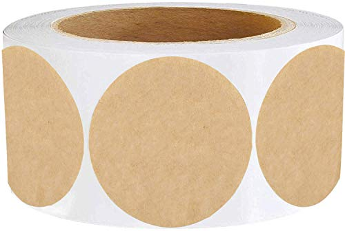 """1.5"""" Round Natural Brown Kraft Mother's Day Stickers - 500 Kraft Paper Dots Mother's Day Label Stickers - Round Brown Paper Kraft Labels Permanent Adhesive"""