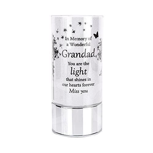 Graveside Tube Light Memorial Plaque Ornament - Battery Operated Grave Decoration, Thinking of you/Remembrance Gift in Loving Memory of your Special Deceased Ones (Grandad)