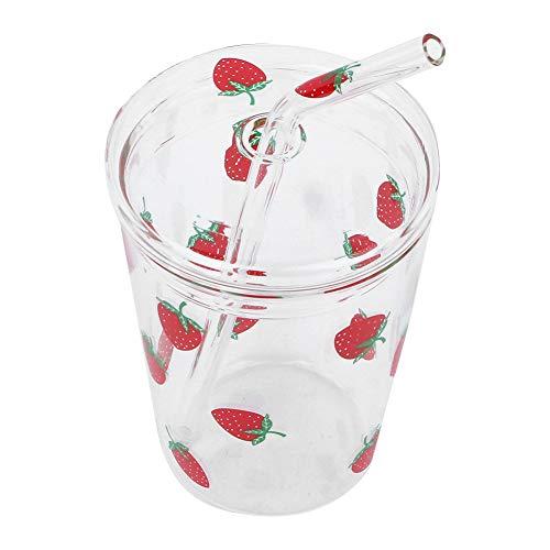Tazza con Cannuccia Bicchiere 300ml con Coperchio Bicchieri per Bere Frullato per l'home Office,Trasparente con Fragole Modello