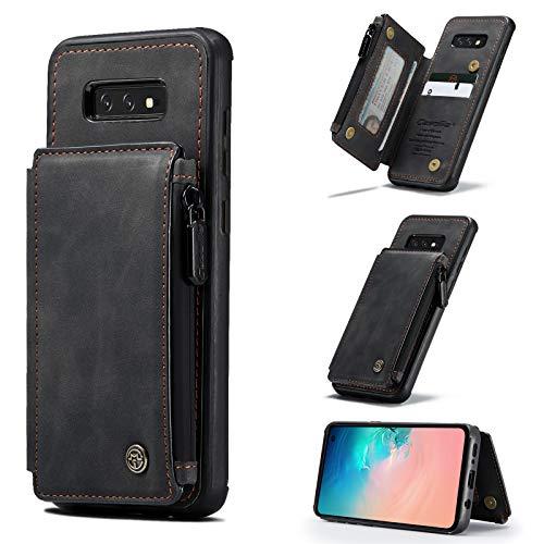 Carcasa de telefono Estuche para Samsung Galaxy S10E Caja de la billetera con soporte de tarjeta, ranuras de tarjetas de cuero de cuero PU premium con caja doble magnético y función de pincel antirrob