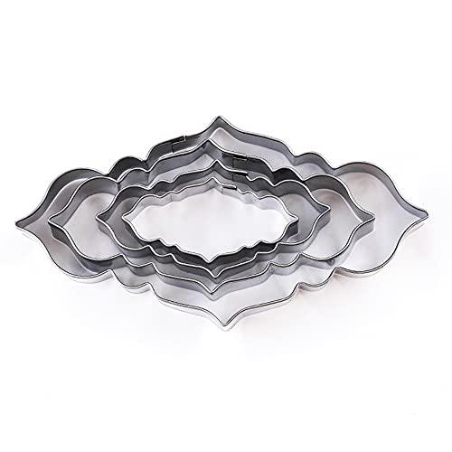 4 piezas molde de pastel de acero inoxidable Fondant placa de identificación molde cortador para boda biscuit encaje bendición círculo flor marco decoración