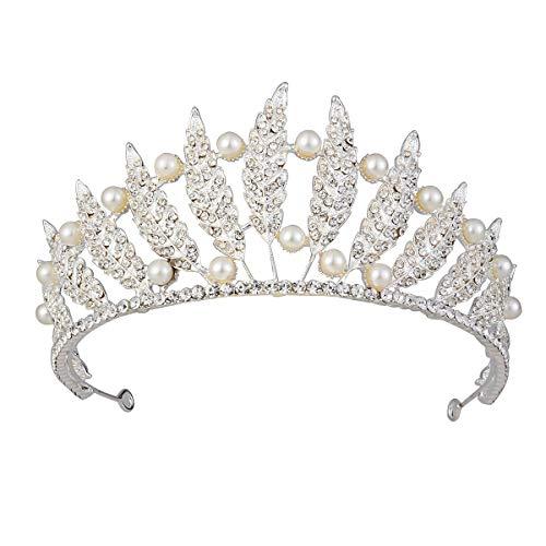 Brautschmuck, Tiara, Perlen, Kristall, Prinzessinnenkrone, groß, funkelnd, Strass, Silber, Hochzeits-Haarschmuck