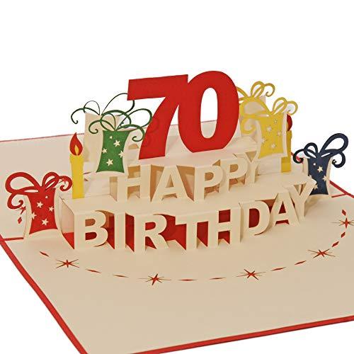 Favour Pop Up Glückwunschkarte zum runden 70. Geburtstag. Ein filigranes Kunstwerk, das sich beim Öffnen als Geburtstagstorte entfaltet. TA70R