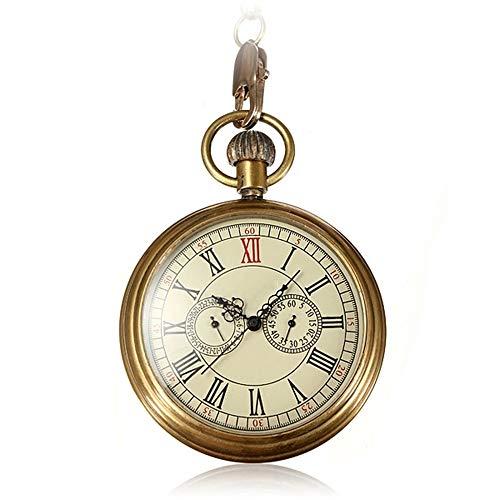 WFDA Reloj de Bolsillo con la Cadena On The Chain Reloj de Bolsillo mecánico Reloj de Bolsillo for Hombre Regalo Reloj de Bolsillo Retro de Lujo de Cobre (Color : Gold, Size : 4.7x1.5cm)