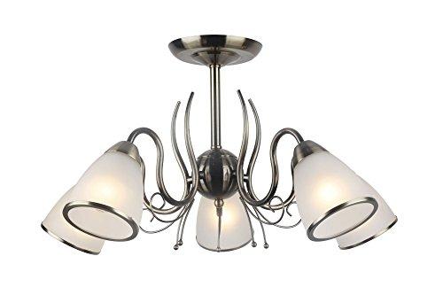 Lampex - Lampadario Goja 5, in metallo, E14, colore: Bianco
