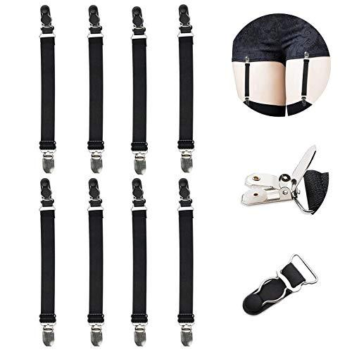 Multifunction Elastic Stocking Clips Suspenders Garter Belt for Girdles Corset Straps Adjustable Leg Garter Girdles Fasteners Keep Your Lingerie Corset Snag on 8Pcs Black