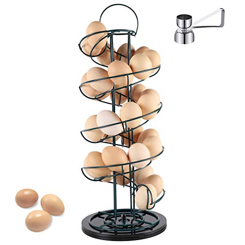 Spiral Design Metal Lengthened Egg Skelter Dispenser Rack with Egg Cracker Topper, Storage Display Holder Basket with Rotatable Widened Base for Countertop Kitchen, Green