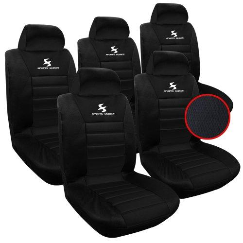 WOLTU 5X Fundas de Asiento para Coche Universal Delantero y Traseros Cubierta para Asiento Automóvil sin Bolsa de Aire 100% Poliéster Negro AS7555-5