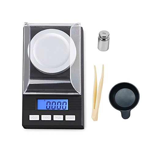 50g/1.7637oz High Precision Digital Milligram Scale, 0.001g /0.0001oz accuracy, Portable Jewelry Scale Digital Weight with Calibration Weights Tweezers and Weighing Pans