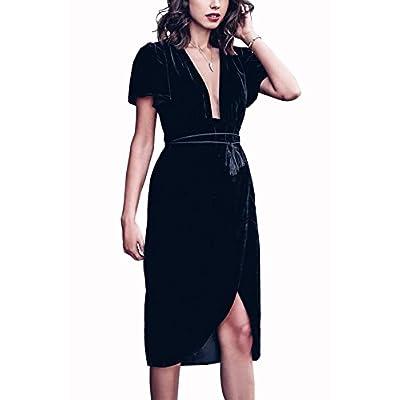 short sleeve velvet dress for women