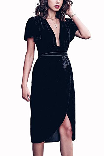 R.Vivimos Womens Velvet Elegant Deep V Neck Short Sleeve High Low Midi Dresses (XL, Black)