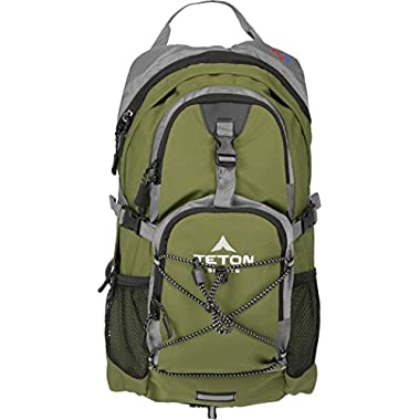 Teton Sports Oasis 1100 2 Liter Hydration Backpack; Day Pack Perfect for Hiking, Running, Cycling, Biking, Climbing, and Hunting; 2 L Water Bladder Included; Sewn-in Rain Cover; Green