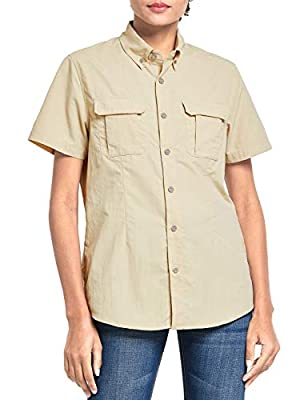 BALEAF Women's Short Sleeve Hiking Shirt UPF 50+ for Safari Fishing Camping Travelling Quick Dry Khaki M