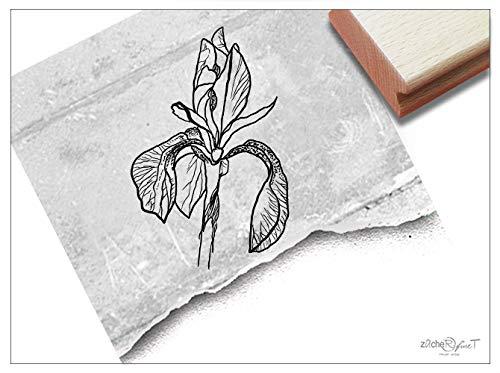 Stempel Motivstempel Blume Iris Schwertlilie - Bildstempel für Karten Basteln Scrapbook Bullet Stamp Tischdeko Deko Geschenk Geburtstag- zAcheR-fineT