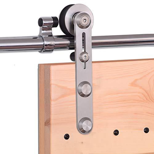 CCJH 243CM/8FT Herraje para Puerta Corredera Kit de Accesorios para Puertas Correderas Juego de Piezas de acero inoxidable Carril para Puerta Deslizante,para puerta de madera