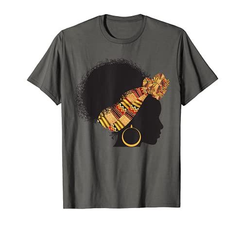 Regalo divertido de la envoltura de la cabeza del paño de Kente para las mujeres africanas Camiseta