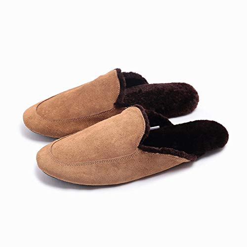 ypyrhh Impermeable Zapatillas de Estar por casa para,Soft Bottom Silent Cotton Slippers, Plush Warm Slippers-Maroon_42-43