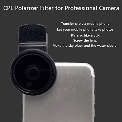 XHXseller 37MM Portable Camera Circular Universal Polarizer Professional Accessories Wide Angle Black Phone Universal with Clip Durable CPL Filter Circular fit for and Other Smartphones