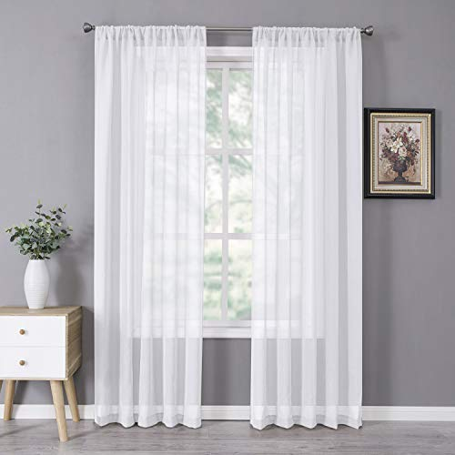 Tollpiz Sheer Curtains Linen Textured Bedroom Curtain Sheers Light Filtering Rod Pocket Voile Curtains for Living Room, 54 x 84 inches Long, White, Set of 2 Panels