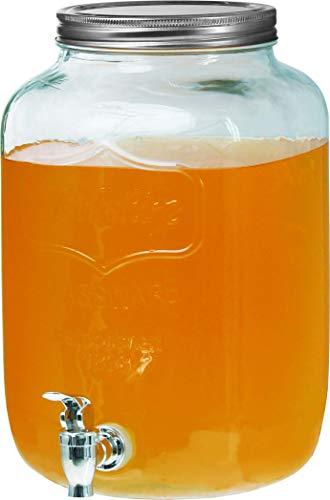 Clic-And-Get Getränkespender mit Hahn 4L 5L 8L Glas Enjoy Zapfhahn Wasserspender Limonadenspender Saftspender Dispenser Trinkspender (5 Liter, Glance Spender)
